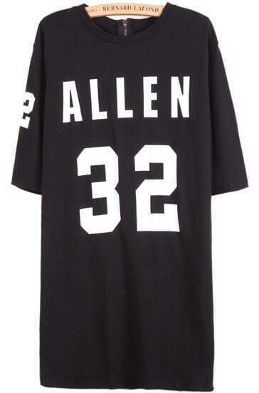 Black Short Sleeve ALLEN 32 Print T-Shirt