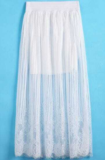 White Striped Pleated Lace Skirt