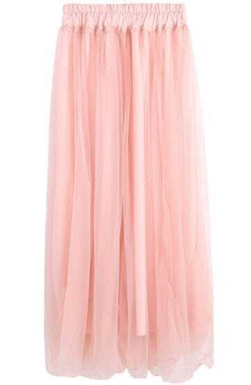 Pink Elastic Waist Pleated Mesh Yoke Skirt