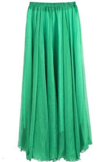 Green Elastic Waist Pleated Chiffon Skirt