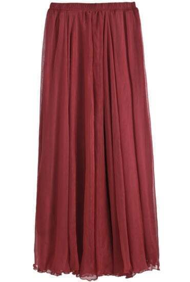 Wine Red Elastic Waist Pleated Chiffon Skirt