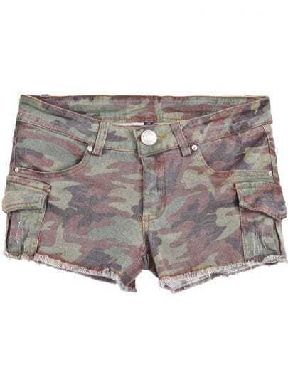 Army Green Camouflage Pockets Shorts