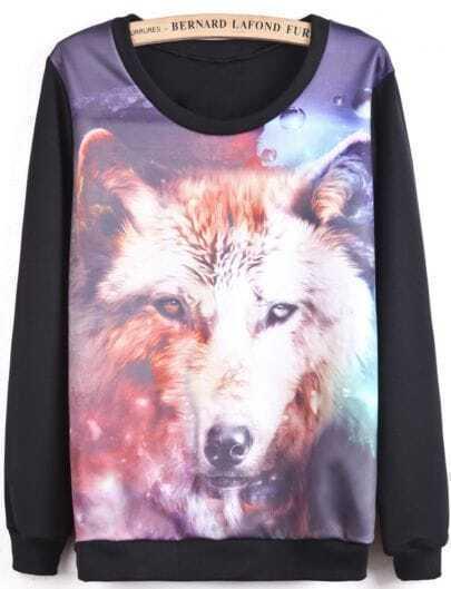 Black Long Sleeve Wolf Print Sweatshirt