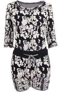 Black White Half Sleeve Floral Top With Shorts