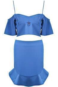 Blue Spaghetti Strap Ruffle Top With Skirt