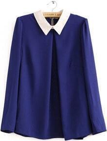 Blue Contrast Lapel Long Sleeve Loose Blouse