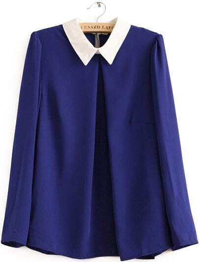 Blue Contrast Lapel Long Sleeve Loose Blouse