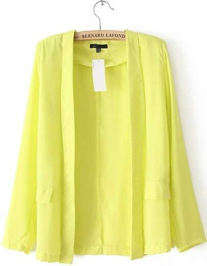 Yellow Long Sleeve Simple Design Thin Blazer