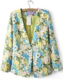 Blue Yellow V Neck Long Sleeve Floral Blazer