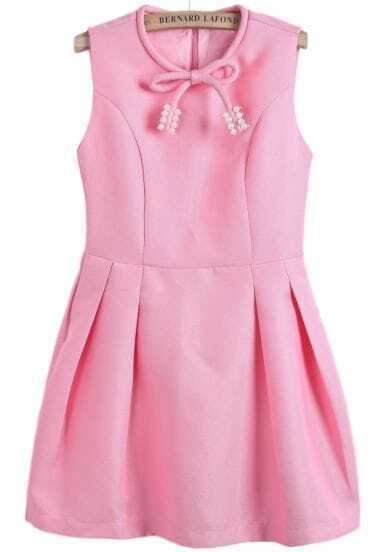 Pink Sleeveless Bead Bow Flare Dress