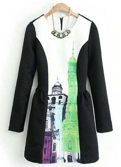 Black Long Sleeve Building Print Flare Dress