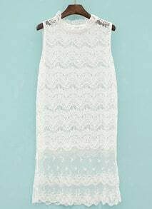 White Stand Collar Sleeveless Hollow Lace Dress