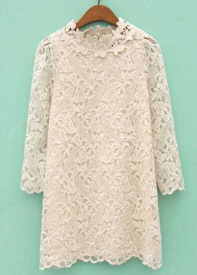 Beige Stand Collar Hollow Embroidered Dress