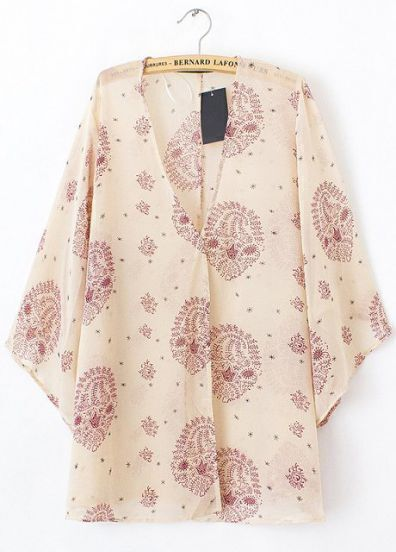Apricot Batwing Sleeve Floral Loose Chiffon Blouse