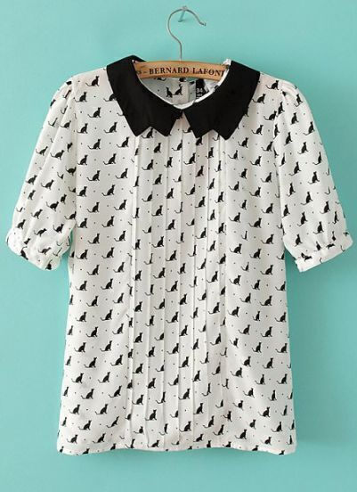 White Contrast Lapel Short Sleeve Cats Print Blouse
