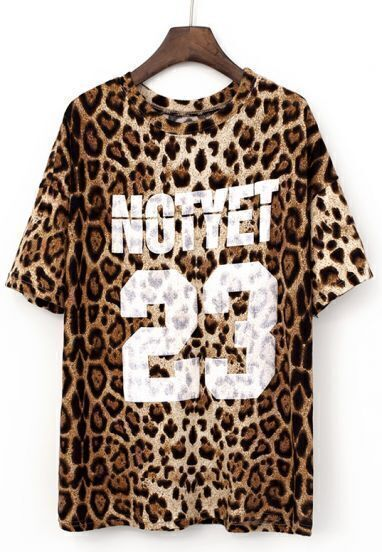Brown Short Sleeve Leopard 23 Print T-Shirt