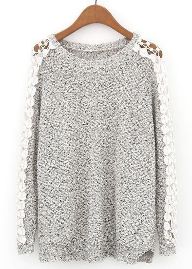 Grey Floral Crochet Long Sleeve Knit Sweater