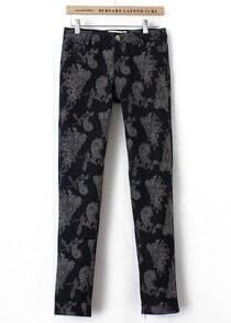 Black Floral Straight Pant