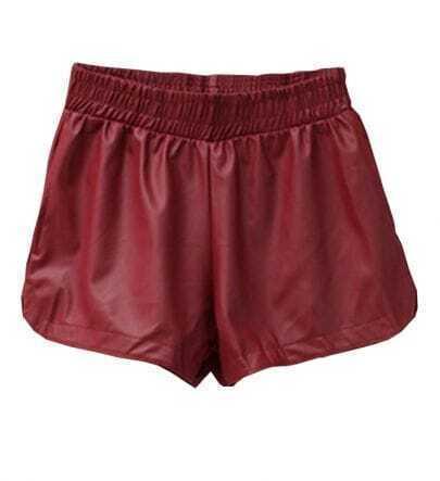 Wine Red PU Leather Elastic Waist Pant