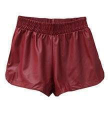 Wine Red PU Leather Elastic Waist Pant