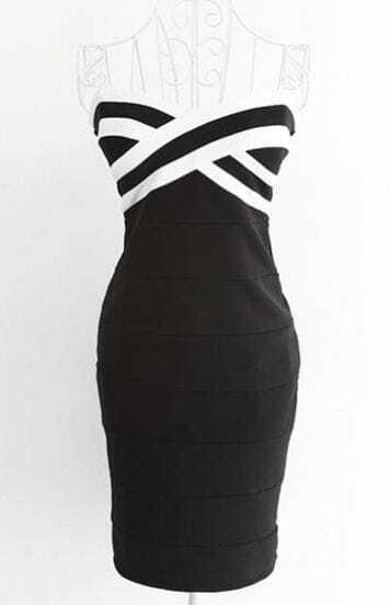 Black Sleeveless Contrast White Cross Bodycon Dress