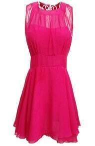 Pink Contrast Mesh Yoke Backless Pleated Dress