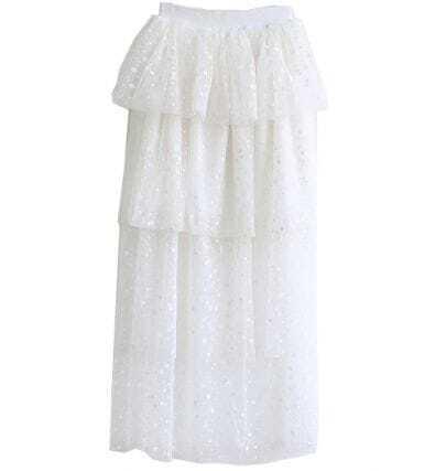 White Asymmetrical Polka Dot Skirt