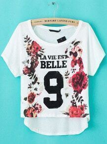 White Short Sleeve Floral 9 Print Loose T-Shirt