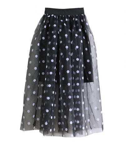 Black Asymmetrical Polka Dot Skirt