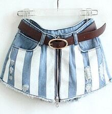 Blue Striped Zipper Pant