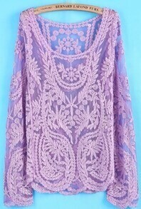 Purple Long Sleeve Hollow Crochet Lace Blouse