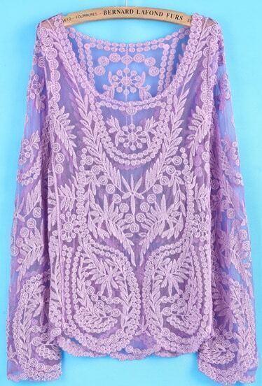 Purple Long Sleeve Hollow Crochet Lace Blouse
