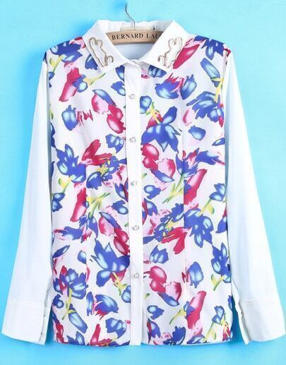 White Lapel Long Sleeve Multicolor Floral Blouse