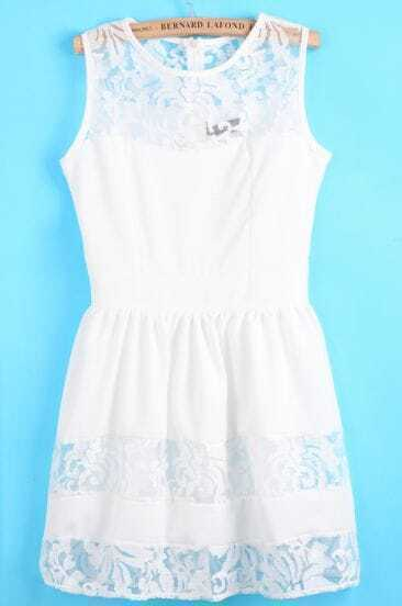White Contrast Lace Floral Crochet Dress