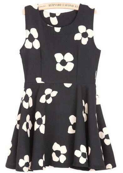 Black Sleeveless Plum Flower Print Dress