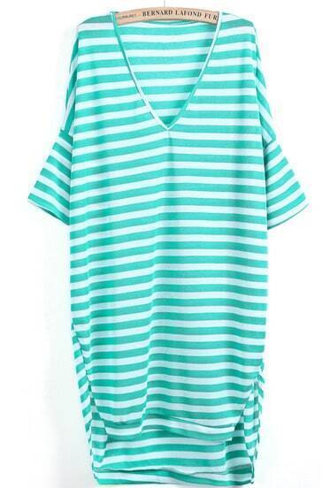 Green White Striped V Neck Loose Dress