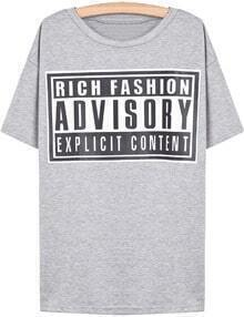 Grey Short Sleeve Letters Loose T-Shirt