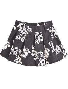Black Ruffle Floral Flare Skirt