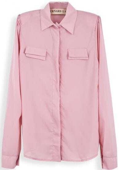 Pink Lapel Puff Sleeve Pockets Embellished Chiffon Blouse