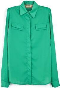 Green Lapel Puff Sleeve Pockets Embellished Chiffon Blouse