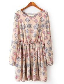 Pink Long Sleeve Floral Pleated Chiffon Dress