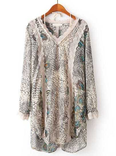 Apricot V Neck Long Sleeve Snakeskin Lace Dress