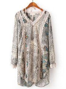 Apricot V Neck Long Sleeve Snakeskin Lace Dress