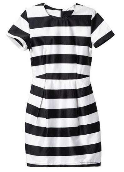 Black White Striped Short Sleeve Bodycon Dress
