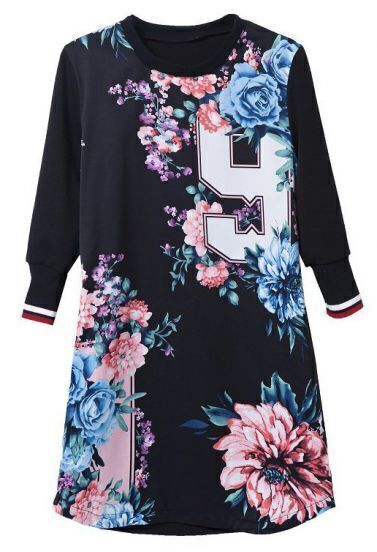 Black Long Sleeve Floral 9 Print Loose Dress