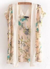 Apricot Short Sleeve Floral Chiffon Blouse
