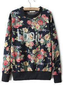 Navy Long Sleeve Floral Lboiu Print Sweatshirt