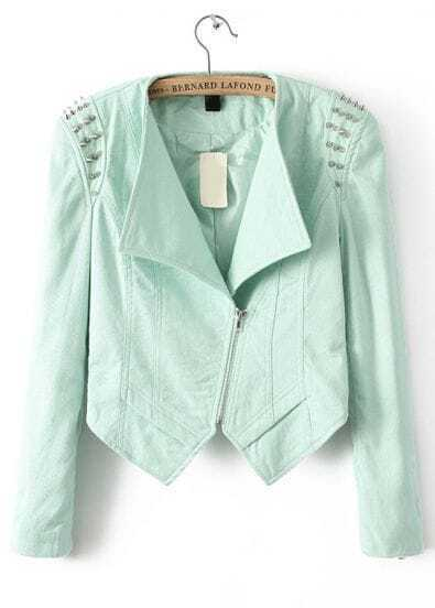 Green Long Sleeve Rivet Slim Crop Jacket