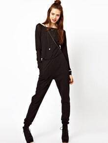 Black Boat Neck Long Sleeve Zipper Jumpsuits
