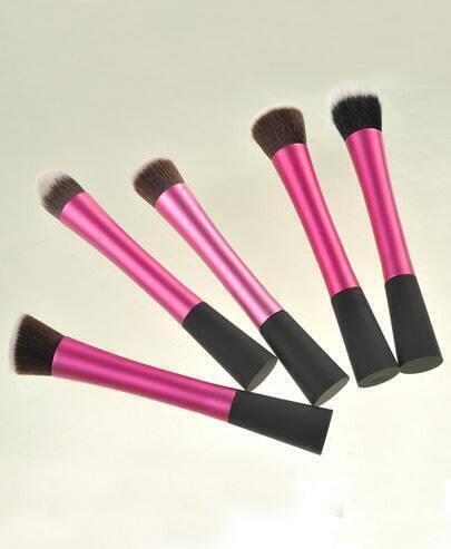 5Pcs Rose Red Professional Makeup Brush Set New Synthetic Kabuki Kit Cosmetic